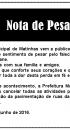 Prefeitura Municipal de Matinhas publica nota de pesar
